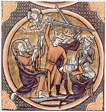 Bible illustration of three Jews being killed by Christian Crusaders, 1250