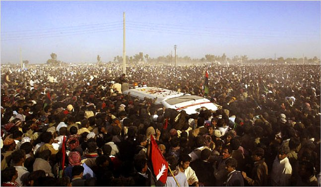 Funeral procession for Benazir Bhutto (بینظیر بھٹو), former prime minister of Pakistan