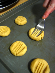 Apryl making butter cookies
