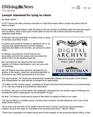 Edinburgh Evening News 31 May 2002 - Edinburgh - Lawyer slammed for lying to client page 1