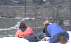 The guy in the blue? Doing a faceplant. (iampeas) Tags: steph adventures tubing snowtrails