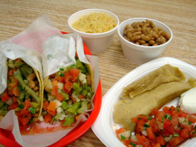 Cactus taco, Vegetable taco, Cheese tamale