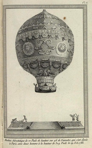Maquina aerostaica de 70 pies por 46 de diametro que alcanzo en Paris en 1783-324 pies de altura