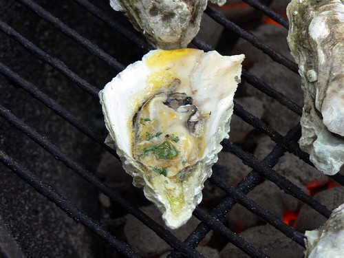 Oyster with spicy garlic butter