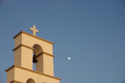Church bell-tower, near Megalochori, Santorini, June 2008.