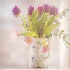 Tulips (BirgittaSjostedt.) Tags: flower tulip pot window light bright natutr still texture filter birgittasjostedt