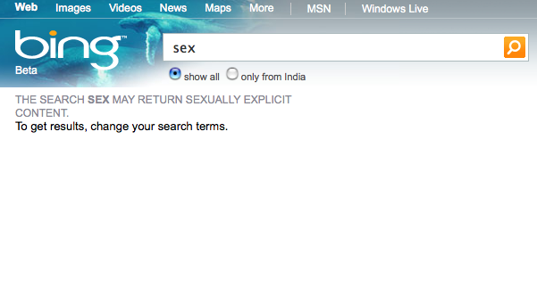 "Microsoft Doesn't Think People In India Should Be Allowed to Search for the Term ""Sex"""
