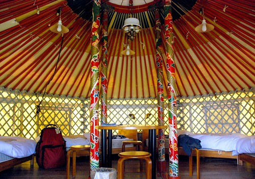 the interior of our yurt, naoshima