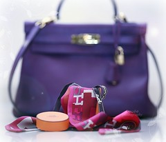 "Le Classique "" (Doue ) Tags: pink orange paris scarf canon purple box small 100mm kelly 5d handbag herms  twilly"