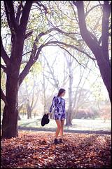 Autumn - Self Portraits (Simon Wilde Photography) Tags: park autumn trees light portrait people selfportrait colour fall leaves fashion self 50mm model nikon couple dress purple outdoor 14 50mm14 clothes canberra naturual d700 simonwilde casseyallars