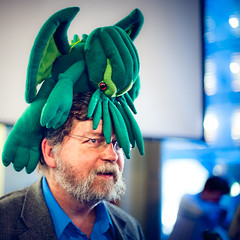 PZ Myers and Cthulhu (TGKW) Tags: portrait people man green bar night hair beard fun toy pub soft crystal glasgow palace cthulhu nightlife facial evolutionary scientist myers developmental wetherspoons atheist pz biologist skeptics 1164 pharyngula