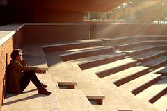 riflessioni illuminate (luce_eee) Tags: light man roma stairs afternoon streetphotography architettura auditorium geometrie gentediromaromamor architetturaromamor riflettere canon400d sfidephotoamatori