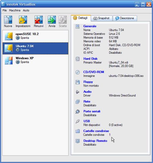 Fig. 8 - Cartelle condivise guest Linux - cartella host condivisa