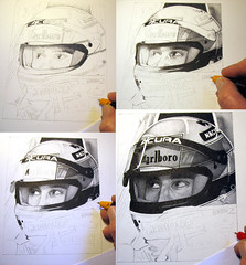 Senna . stages (pbradyart) Tags: portrait bw art pen ink sketch artwork drawing f1 senna pointillism ayrton