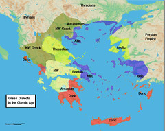 Dialect map of Classic Greece (hoplitesmores-MEGISTIAS) Tags: museum greek photo newspaper ancient map marathon military maps aegean picture culture hellas pic icon collection greece schild macedonia aid hero sword warrior thessaloniki material shield sparta heroes teaching geography 300 combat mapping mythology spartan reenact spear battles antiquity mythical warfare ionian hoplite bouclier macedon hellenic alexanderthegreat epirus thrace thessaly hoplites hellenes phallanx griecheland aimos spiei