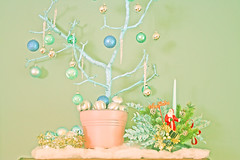 Blue Christmas (boopsie.daisy) Tags: blue tree vintage silver stars pretty branch turquoise kitsch garland pot ornaments bulbs icy centerpiece icicles