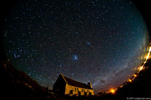 Night sky over the Church of the Good Shepherd