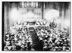 [Cathedral] Episcopal Trinity - Coronation Ceremony  (LOC) (The Library of Congress) Tags: nyc newyorkcity bw usa ny newyork men church america vintage women manhattan broadway ceremony hats altar aisle financialdistrict holy indoors trinitychurch libraryofcongress 1910s pillars seated pews aura episcopal liturgy episcopalian liturgical downtownmanhattan nationalhistoriclandmark nationalregisterofhistoricplaces reredos episcopalians xmlns:dc=httppurlorgdcelements11 dc:identifier=httphdllocgovlocpnpggbain09448