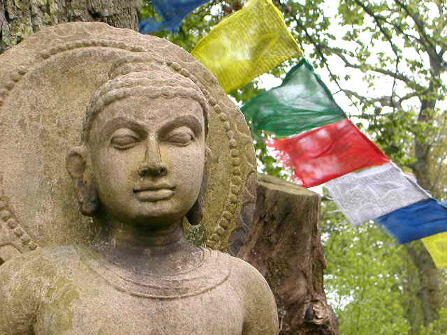 Buddha and prayer flags