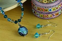 Fun Hawaiian blue & green pendant 2 pc set (www.monsbijou.com) Tags: necklace handmade jewelry valentinesdaygift handmadejewelry beadednecklace beadedjewelry beadedearrings designerjewelry beadedbracelets giftsforwomen giftsforher