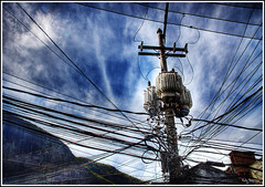 Electrical (Kaj Bjurman) Tags: brazil sky rio clouds de eos janeiro wires electricity favela hdr rocinha kaj 2007 cs3 photomatix 40d colorphotoaward bjurman