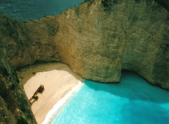 shipwreck beach (darkroom344) Tags: ocean blue sea cliff beach rock ship aegean greece shipwreck limestone zakynthos calcite