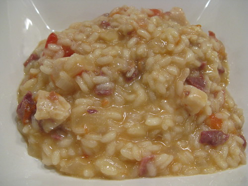 risotto with chicken, procuitto & tomato