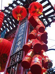 New Year decorations in China town