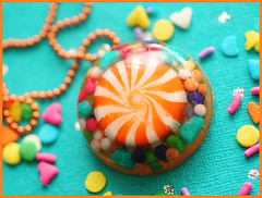 Clockwork Orange (stOOpidgErL) Tags: orange white circle diy necklace rainbow colorful candy handmade craft jewelry plastic cupcake sprinkles round pinwheel resin dots pendant peppermint stoopidgerl colorsplosion