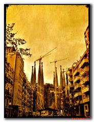 Sagrada Familia in sepia.- (ancama_99(toni)) Tags: barcelona street leica old city vacation urban espaa house holiday abstract color building art texture church yellow familia sepia architecture photoshop vintage buildings geotagged temple lumix photography photo spain espanha europa europe cityscape cross cathedral photos antique religion bcn cityscapes modernism photographic catalonia panasonic textures artnouveau gaudi temples gaud layers artdeco catalunya sagradafamilia 2008 abstracto espagne sagrada modernismo texturas templo barcellona catalan spagna modernisme pasoscatalans urbanas urbanscapes catalogne belleepoque texturized fz7 dmcfz7 aplusphoto holidaysvacanzeurlaub goldstaraward