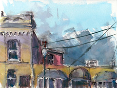 on nevada street, littleton, co (mike thomas) Tags: street city urban architecture buildings painting square sketch colorado mine downtown place state drawing brush theme gouache loose brushpen littleton artbookklub