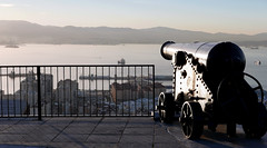 Gibraltar and Spain (roomman) Tags: 2017 gibraltar rock therock peninsular uk unitedkingdom united kingdom great britain colony empire canon bw black white blackandwhite monochrome contrast grey style art design bandw ocean water sea med mediterranean mditeranean algeciras la linea de conception spain background fort fortress fortification old