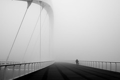 Alessandria (Cava AL) Tags: 2016 alessandria bw bn humans panasonic riccardocavallaro street streetphotography bridge fog nebbia ponte
