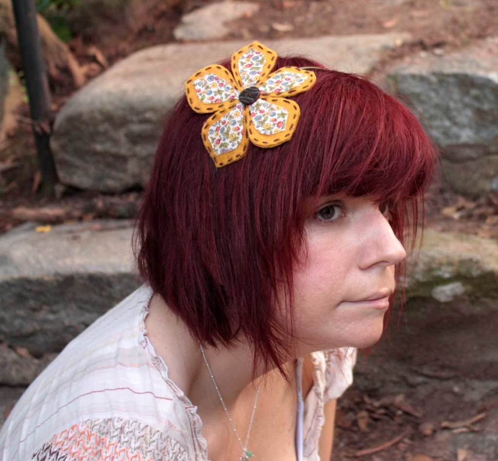 Flower headband felt and floral print