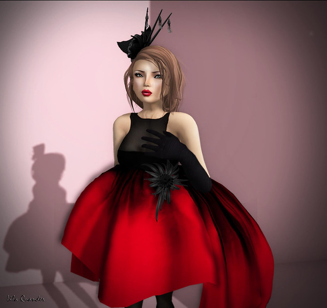 -Glam Affair - Linda Dress - Gown whit black flower - Red