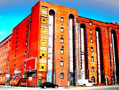 parliament street - liverpool - england (~ paddypix ~) Tags: red liverpool photoshop buildings angles picasa oldcity warehouses doorsandwindows moodyblues ukandireland iusedpicasa urbanside
