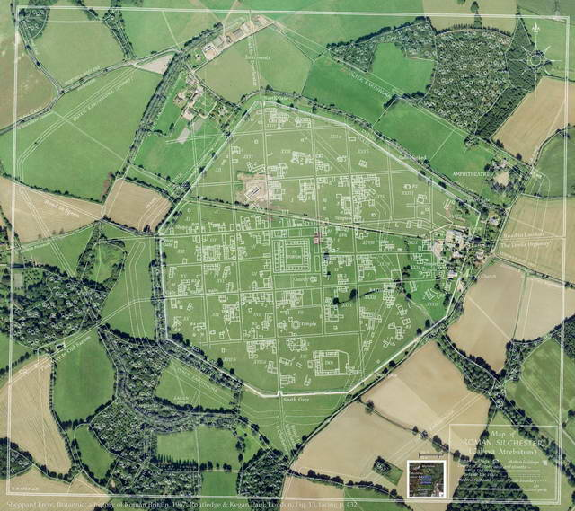 Fig. 1. Map of Roman Silchester (Calleva Atrebatum) [click on image for larger image] (Courtesy: Director, Reading Museum) (Sheppard Frere, Oxford University)