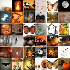 halloween's harvest (pipnstuff) Tags: autumn trees orange moon black green fall halloween mushroom leaves illustration cat butterfly pumpkin spider witch web ghost bat toadstool crow acorns broomstick favsforfriends