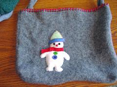 Grey Snowman tote