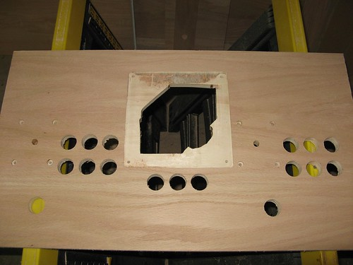 Control Panel after routing for the trackball mounting plate