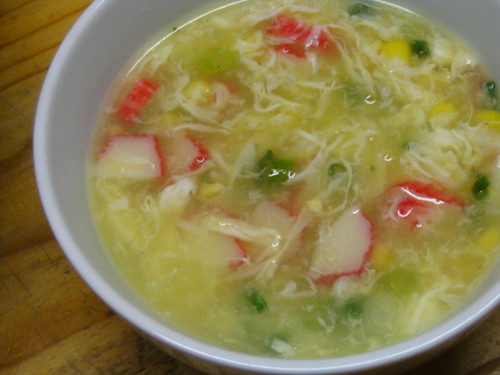 Crabstick and sweet corn soup