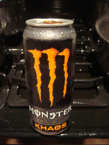 Orange Monster energy drink