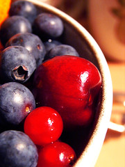 Berries And Cherries (Michelle in Ireland) Tags: blue light red white fruit dessert juicy yummy cherries berries bowl delicious blueberries smrgsbord redcurrants challengeyouwinner msh1207 msh12074