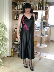 Long nightdress (Paula Satijn) Tags: black shiny tgirl transvestite slip satin silky nightdress nightie