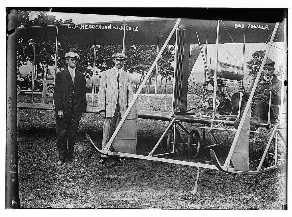 C.P. Henderson, & J.J. Cole. Bob Bowler in plane.