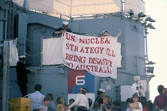 these days might these activists be courting extraordinary rendition? anti-nuclear activists on a US warship in Adelaide in the '80s - link to my 'another world is possible' set on flickr