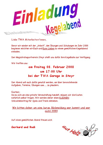 we simply do it: kegeln, Einladung