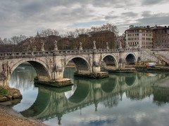 Ponte Sant'Angelo, Rome (**Anik Messier**) Tags: bridge italy rome roma reflection river rivire tiber pont reflets hdr italie lazio pedestrianbridge pontesantangelo ponsaelius flickrsbest pontsaintange flickrelite aelianbridge gettyimagesitalyq1
