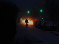 Snowstorm Cycling by Night