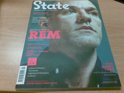 Rem on the cover of new music mag state.ie